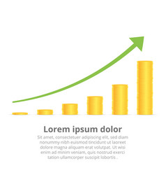 stacks of gold coins graph arrow income and vector image