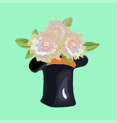 Stovepipe hat used as a vase for flowers vector