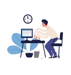 stressed multitasking man trying to get in time vector image