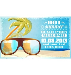 Summer beach party invitation glasses on sand vector