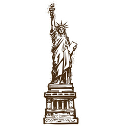 the statue of liberty engraving style sketch vector image
