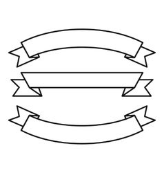 Three ribbons icon outline style vector