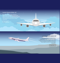 Travel on the plane set of banners in a flat style vector
