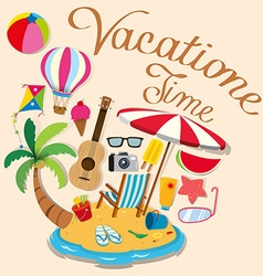 Vacation theme with island and beach objects vector