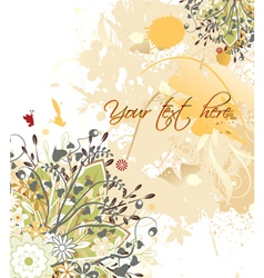 vintage floral background with grunge vector image