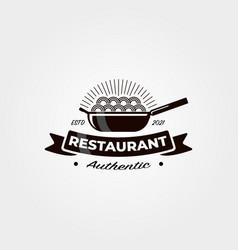 vintage noodle restaurant logo symbol design vector image