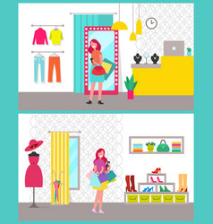 Women shopping posters set vector