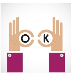 Ok hand sign Business and vision concept vector image