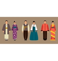 Asian men and women in national costumes vector image