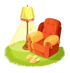 Cosy armchair with cushions yellow torchere vector