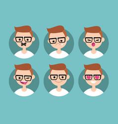 nerd boy profile pics set of flat portraits vector image vector image