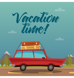 Travel Banner Travel by Car Vacation Time vector image vector image