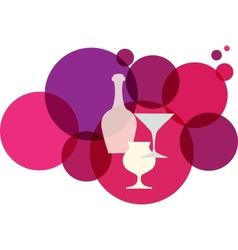 wine bottle with glasses on retro background vector image vector image