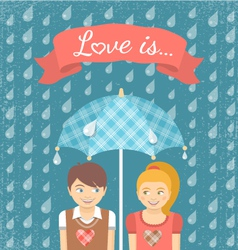 Boy and Girl in Love under Checkered Umbrella vector image vector image