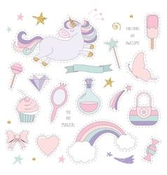 Unicorn magic set with rainbow stars and sweets vector