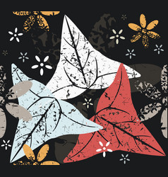 contrast seamless pattern with leaves and flowers vector image