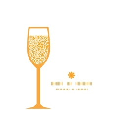 golden lace roses wine glass silhouette pattern vector image vector image