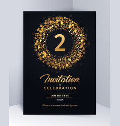 2 years anniversary invitation card template vector image