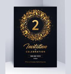2 years anniversary invitation card template vector