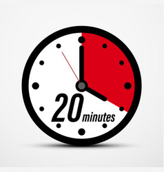 20 - twenty minutes clock symbol isolated vector image