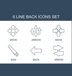 6 back icons vector