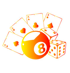 Aces playing cards with number eight ball isolated vector