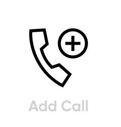 Add call icon editable outline vector