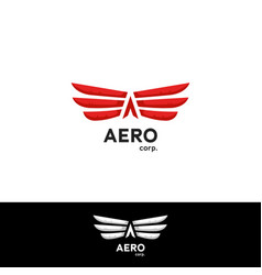 Aerodynamics fly wing logo concept with arrow vector
