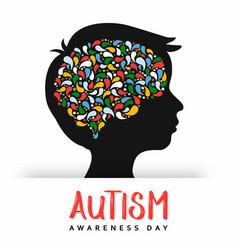 Autism awareness day girl head color brain card vector