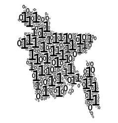 bangladesh map composition of binary digits vector image