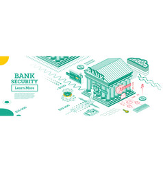 bank security safe payment outline bank building vector image