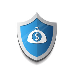 banking protection mobile wallet on shield icon vector image