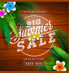 big summer sale design with typography letter and vector image