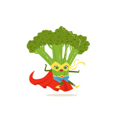 Cartoon character of superhero broccoli in fighter vector