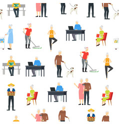Cartoon characters modern aged people seamless vector