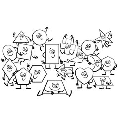 cartoon geometric shapes characters coloring book vector image