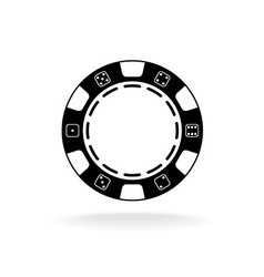 Casino poker chip black symbol with empty space in vector image