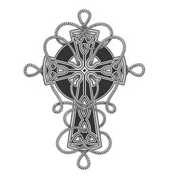 Celtic cross in ropes tattoo vector