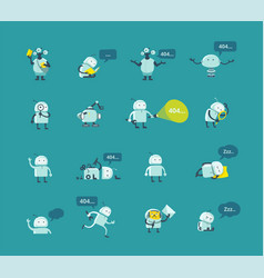 character robot set different situations 404 vector image