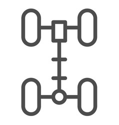 Chassis line icon wheel vector