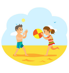 children on beach kids playing volleyball game vector image