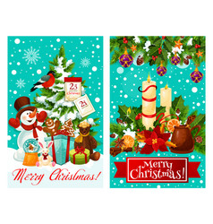 Christmas card with new year gift and snowman vector