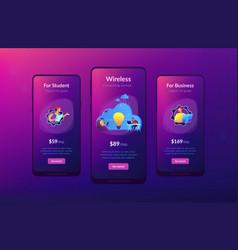 Cloud collaboration app interface template vector