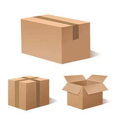 Collection recycle brown box packaging vector