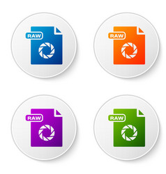 color raw file document download raw button icon vector image
