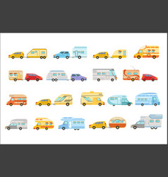 colorful rv minivan with trailer set icons vector image