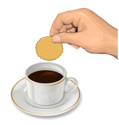 Cookie in hand vector
