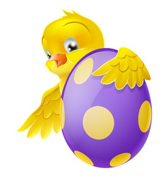 Cute chick and painted chocolate easter egg vector