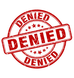 Denied red grunge round vintage rubber stamp vector