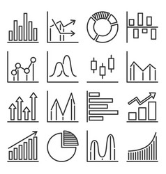 diagram and graphs icons set on white background vector image